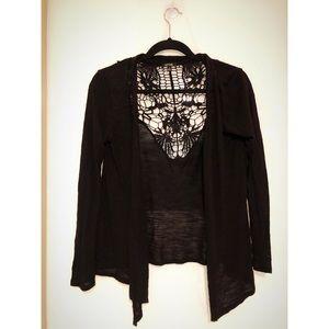 Back Lace Cardigan (Black)